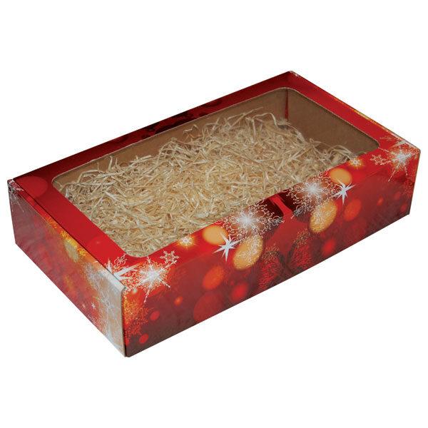 Ukrasna kutija 380x210x85mm sa prozorom - Božić crvena-0