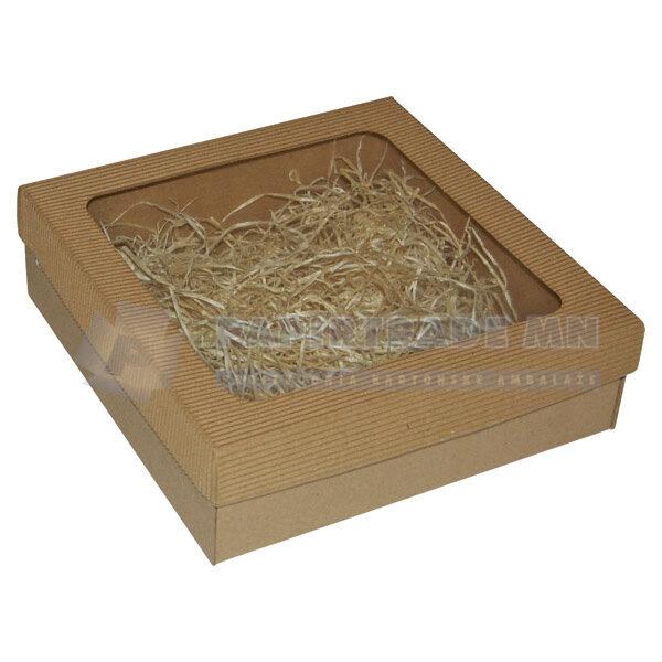 Ukrasna poklon kutija 240x240x70mm sa slamicom - KVARNER-0