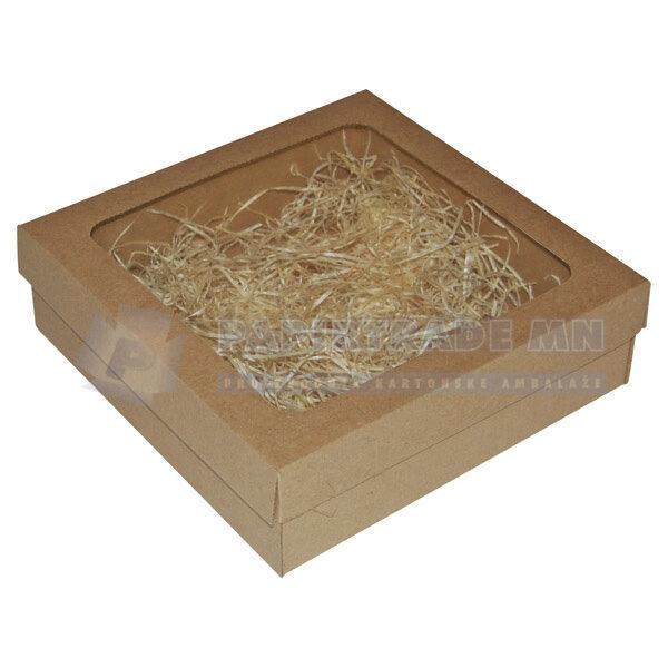 Ukrasna poklon kutija 240x240x70mm sa slamicom LIKA-0
