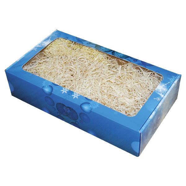 Ukrasna kutija 380x210x85mm sa prozorom - Božić plava-0